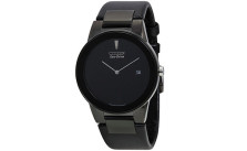 Citizen Eco Drive Axiom Black Dial Black Leather Mens Watch