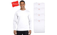 Hanes Comfort Blend Crew Neck White Long Sleeve T-Shirts