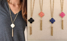 Quatrefoil Tassel Necklace Sets