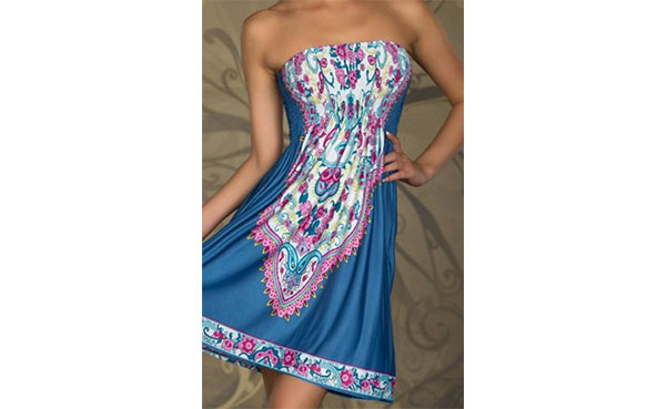 bohemian strapless dress