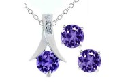 Amethyst Pendant and Earrings