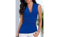 Plain Chic V Neck Sleeveless T-Shirts