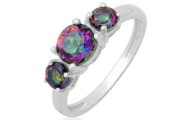 Mystic Quartz 3-Stone Ring