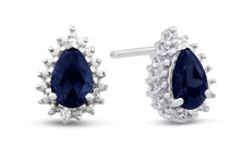 1 CARAT PEAR SHAPE SAPPHIRE AND DIAMOND HALO STUD EARRINGS IN STERLING SILVER
