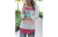 Color Striped Pockets Round Neck 3/4 Sleeve T-Shirts