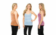 8 Pack: Ladies Stylish Striped Cami Tank Tops with Adjustable Straps