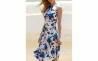 Vintage Sleeveless Floral Print Belted Dress