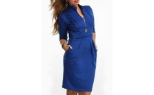 Absorbing Band Collar Pockets With Zips Plain Plus-Size-Bodycon-Dress
