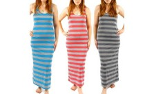 A-Fashion Racerback Striped Maxi Dresses