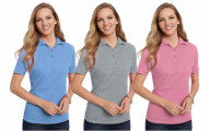 3-Pack Hanes Women's Cotton Pique Polo Shirts