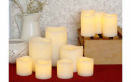 Set of 11 Ivory Melted Wavy Edge Wax Flameless Candles