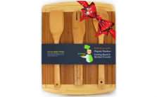 Bamboo Cutting Board with 3-Piece Kitchen Wood Utensils