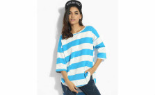 Boat Neck Cotton Striped Long Sleeve T-Shirts