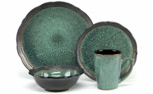 Cuisinart Stoneware Jenna Green Collection 16-Piece Dinnerware Sets