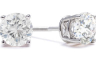 DIAMOND STUD EARRINGS IN 14K WHITE GOLD - WITH FREE DIAMOND BRACELET AND NECKLACE