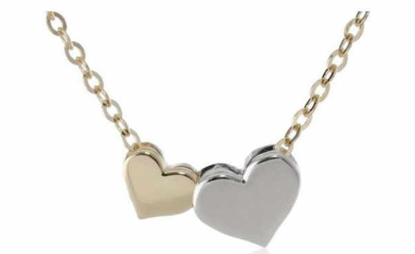 14k Gold Two-Tone Colored Heart Necklace