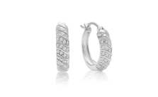 Carat Four Row Diamond Hoop Earrings