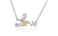 Gold Heart in Love Diamond Necklace