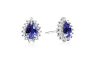 2/3 Carat Pear Shaped Tanzanite and Diamond Halo Earrings