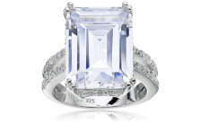 Platinum-Plated Clear Emerald-Cut Cubic Zirconia Ring