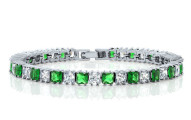 Princess Cut Green and White Zirconia Bracelet