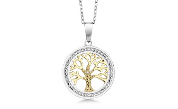 Two-Tone Silver Tree Of Life Pendant With Diamond Accent