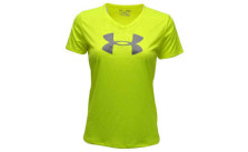 Under Armour Girl's V-Neck Big Logo Tech Shirt