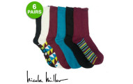 6 Pairs of Nicole Miller Women's Duster Crew Socks