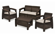 Keter Corfu All Weather Resin 4 Piece Patio Conversation Set