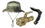 Outdoor Nation Camping Bundle with Knife, 4-LED Flashlight and Camouflage Hat