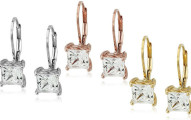 Swarovski Zirconia Princess-Cut Leverback Earrings
