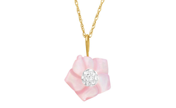 Crystaluxe Pink Mother-of-Pearl Flower Pendant