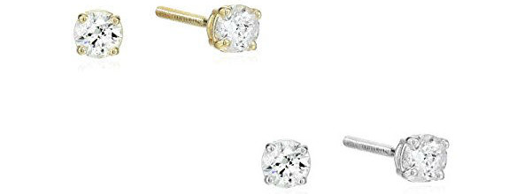 14k Gold Round Cut Diamond Stud Earrings