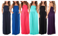 Women's Strapless Ruched Maxi Dress