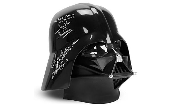 Adam Driver and David Prowse Autographed Star Wars Darth Vader Helmet