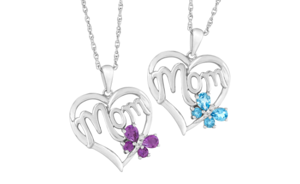Natural Gemstone 'Mom' Heart Pendant with Diamond Sterling Silver