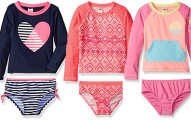 Osh Kosh Girls' Long Sleeve Rash Guard Set