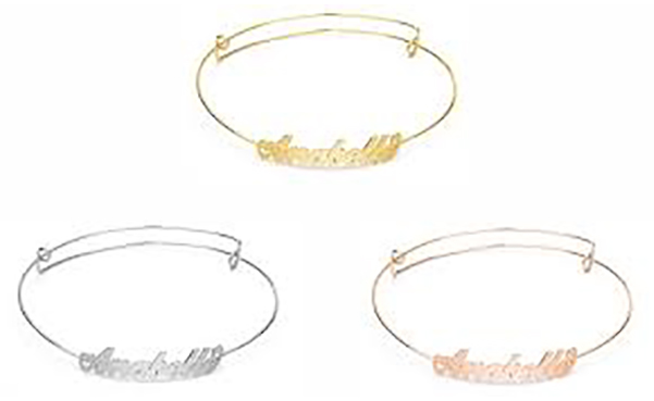 Personalized Carrie Style Name Bangle Bracelets