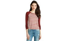 Aeropostale Womens Prince and Fox Ribbed Stripe Baseball Top