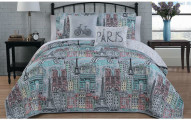 Paris-Themed Quilt, Comforter, or Bed-in-a-Bag with Sheets Sets