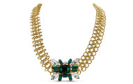 Emerald, Pearl and Crystal Fantasy Bib Necklace