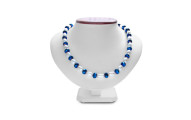 Fine Electric Blue Crystal and Giant Seed Pearl Necklace
