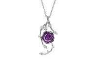 Amethyst & Cubic Zirconia Rose Necklace