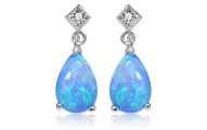 Sterling Silver Blue Opal Pearshape Drop Earrings