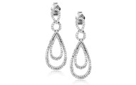 Sterling Silver Diamond Drop Earrings