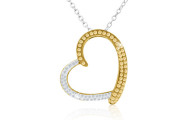 Two Tone Swarovski Elements Crystal Heart Necklace