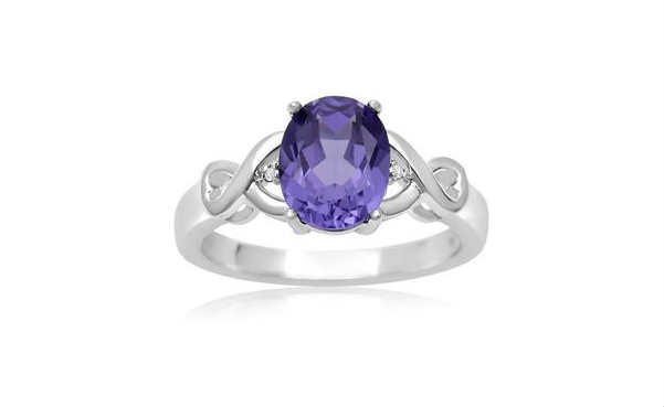 2 1/2 CARAT CREATED TANZANITE AND DIAMOND INFINITY RING