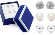 3 Pairs Sterling Silver Stud Earring in Box