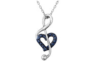 Silver Blue Diamond Music Note Heart Necklace