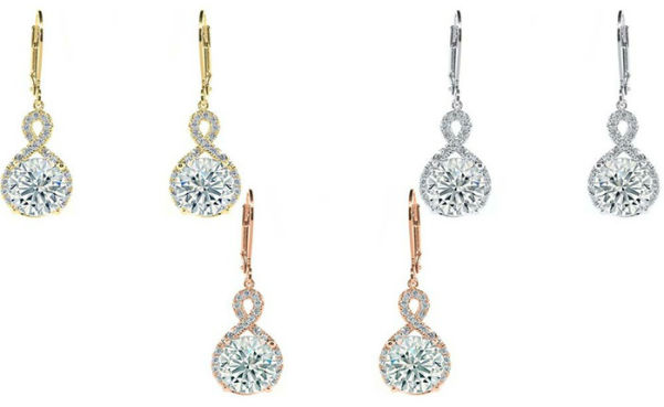 Gold Infinity Crystal Drop Earrings with Swarovski Crystals